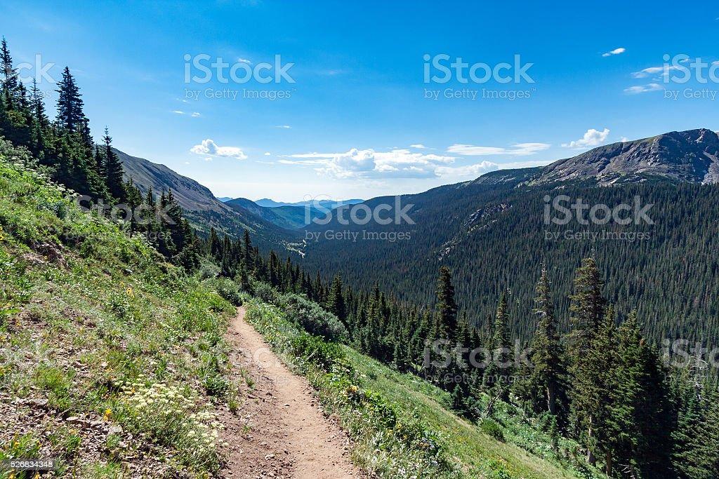 Dirt Trail through Colorado Mountains stock photo