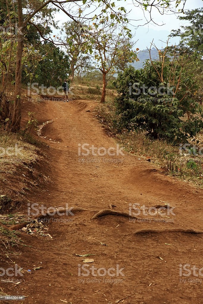 Dirth Path with African School Child royalty-free stock photo