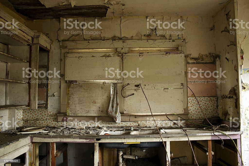 Dirty Abandoned Kitchen interior royalty-free stock photo