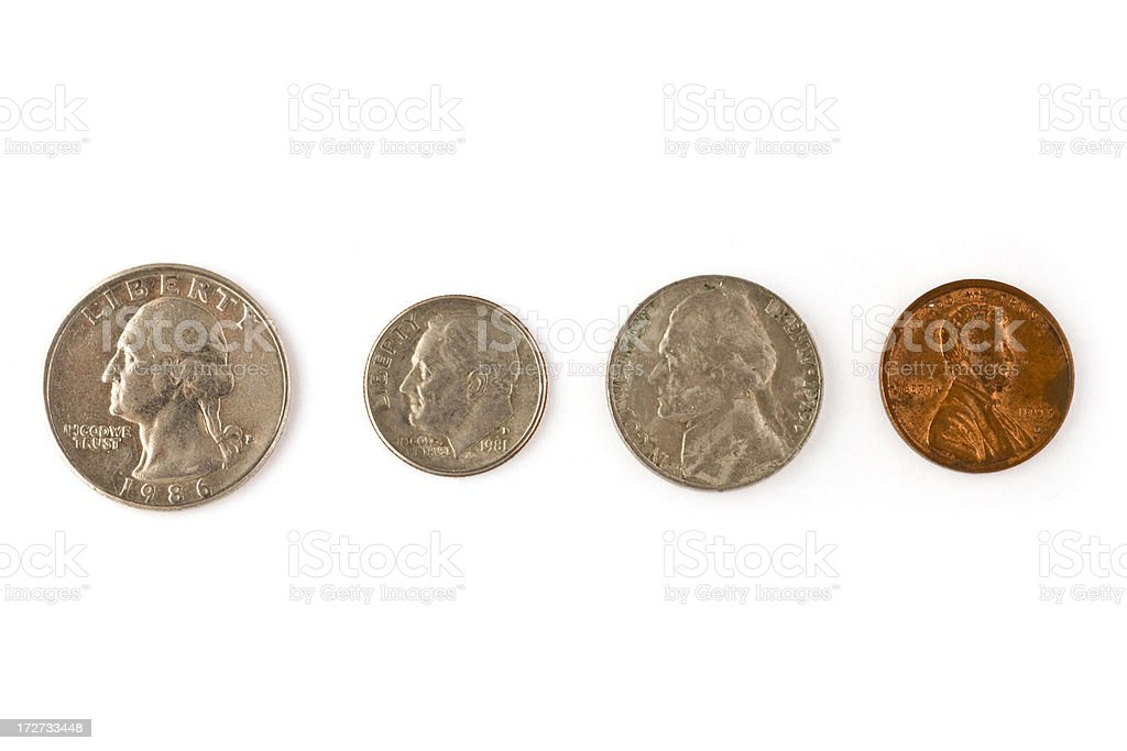 dirty american coins isolated stock photo