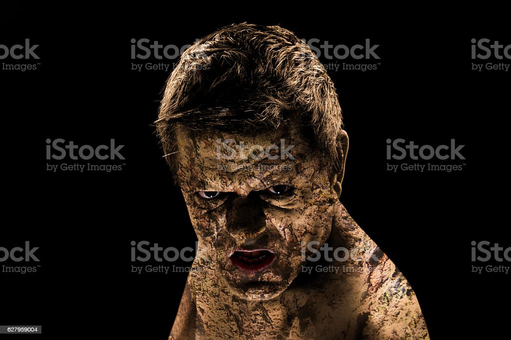 Dirty and angry man stock photo