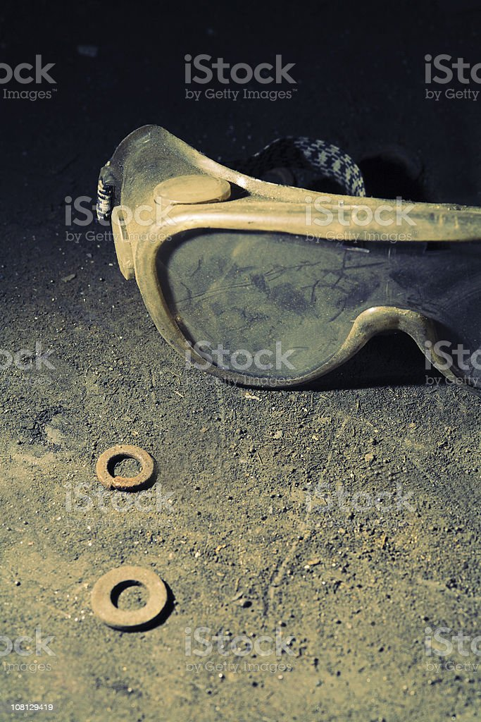 Dirty and Dusty Safety Goggles royalty-free stock photo
