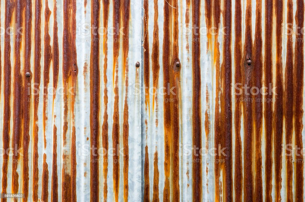 dirty  and rusty brown color zinc plate wall for background stock photo