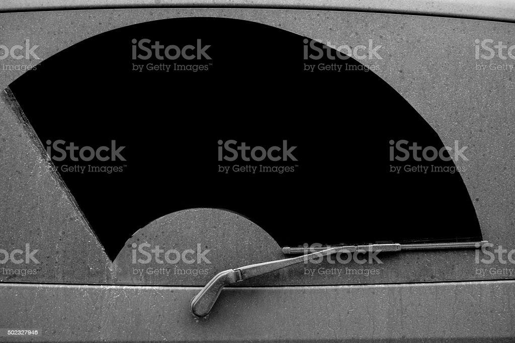Dirty back window of a car van stock photo