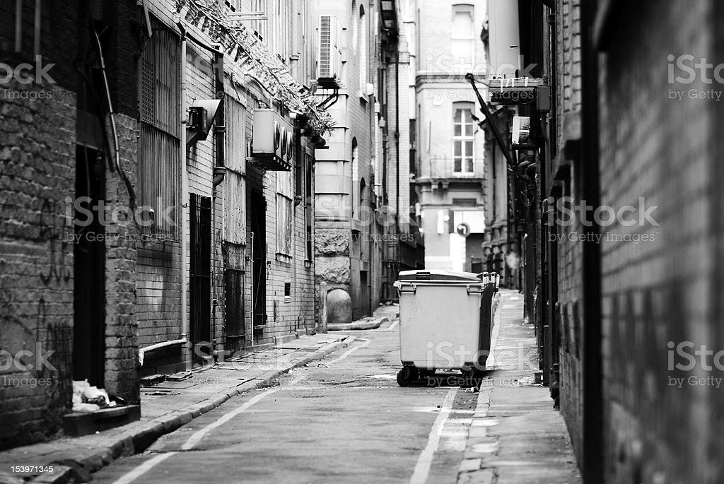 Dirty backstreet black and white royalty-free stock photo
