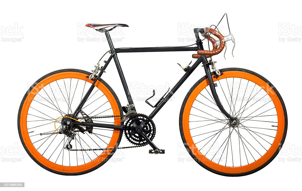 Dirty bicycle cut for white isolated. stock photo
