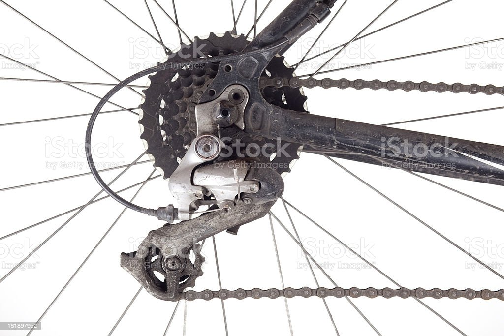 Dirty bicycle gears royalty-free stock photo