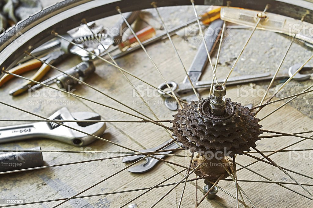 Dirty bicycle of rear sprocket wheel royalty-free stock photo