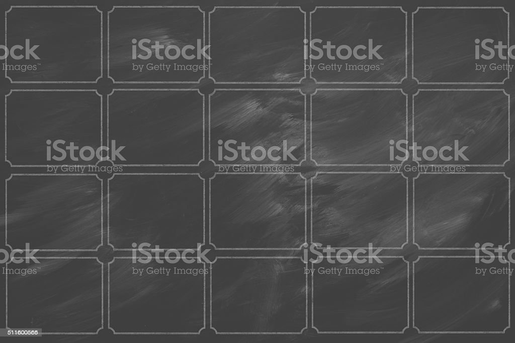 dirty black board divided into departments stock photo