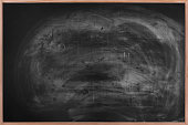 Dirty blackboard with wood frame.