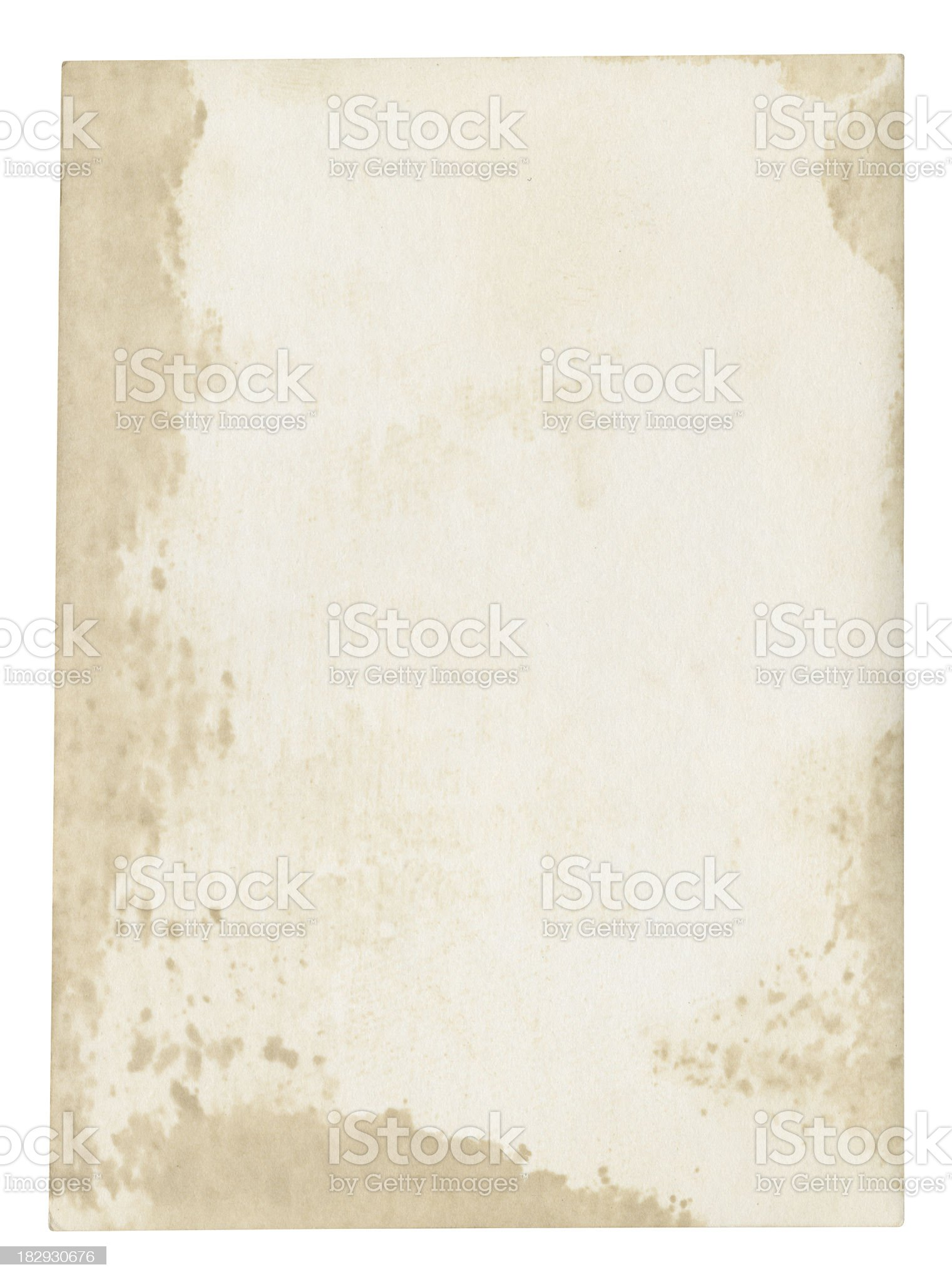 Dirty blank paper background (clipping path included) royalty-free stock photo