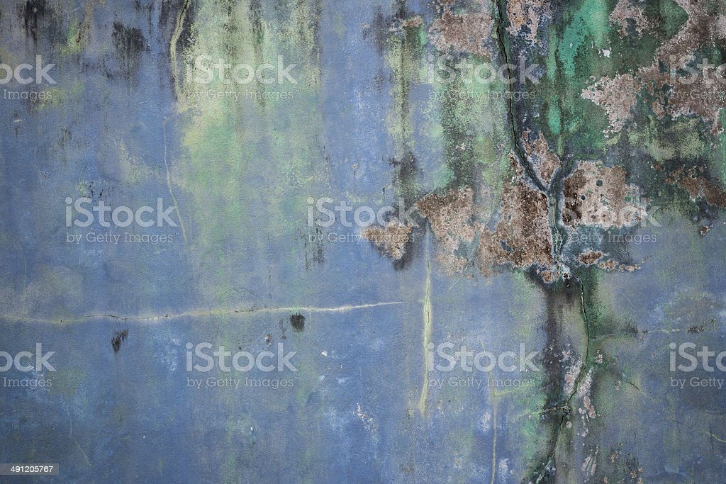 dirty blue and green color on cement  wall stock photo