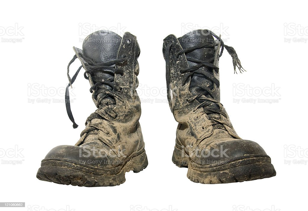 Dirty boots stock photo