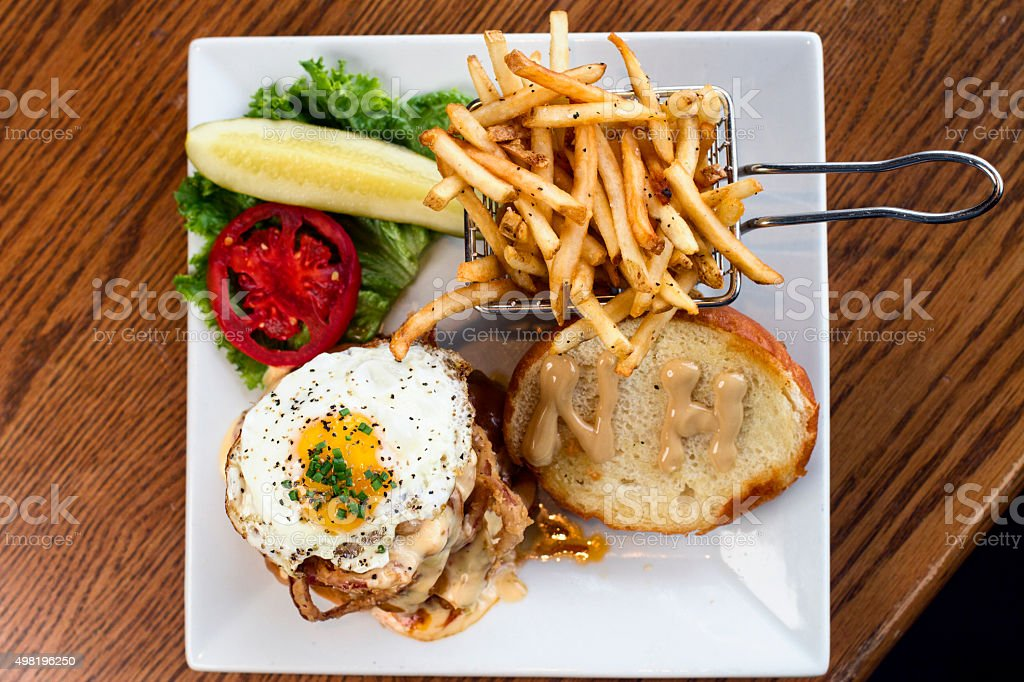 Dirty Burger with a fried egg stock photo