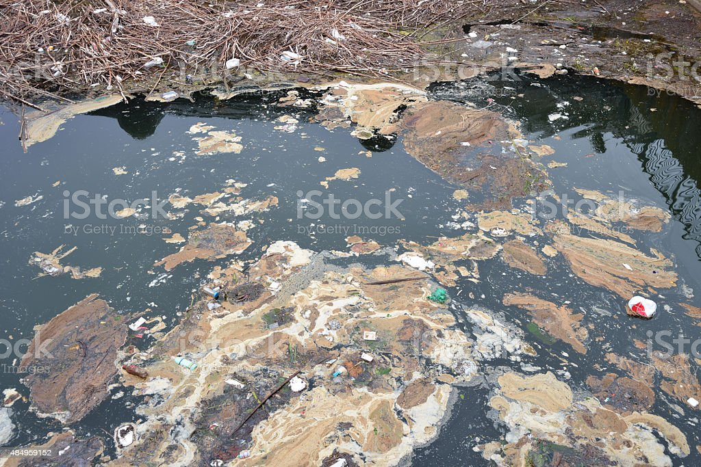 Dirty canal stock photo