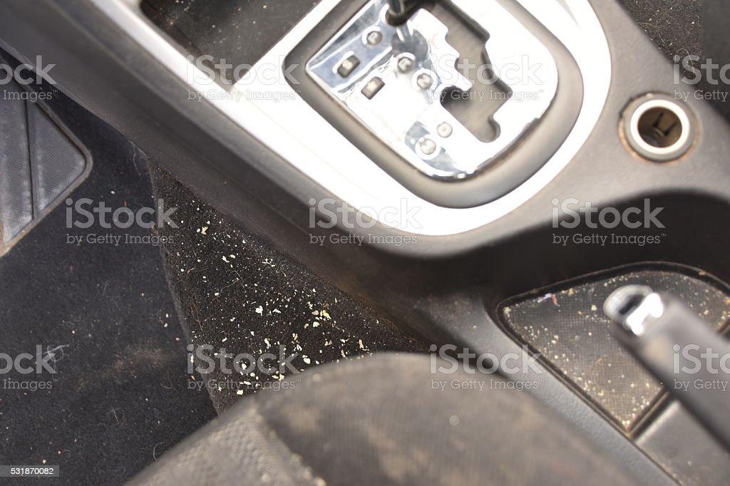 Dirty car interior stock photo