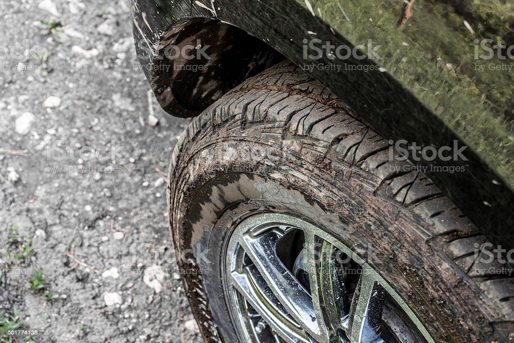 Dirty car wheel stock photo