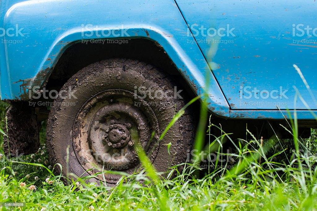 dirty car wheel stock photo