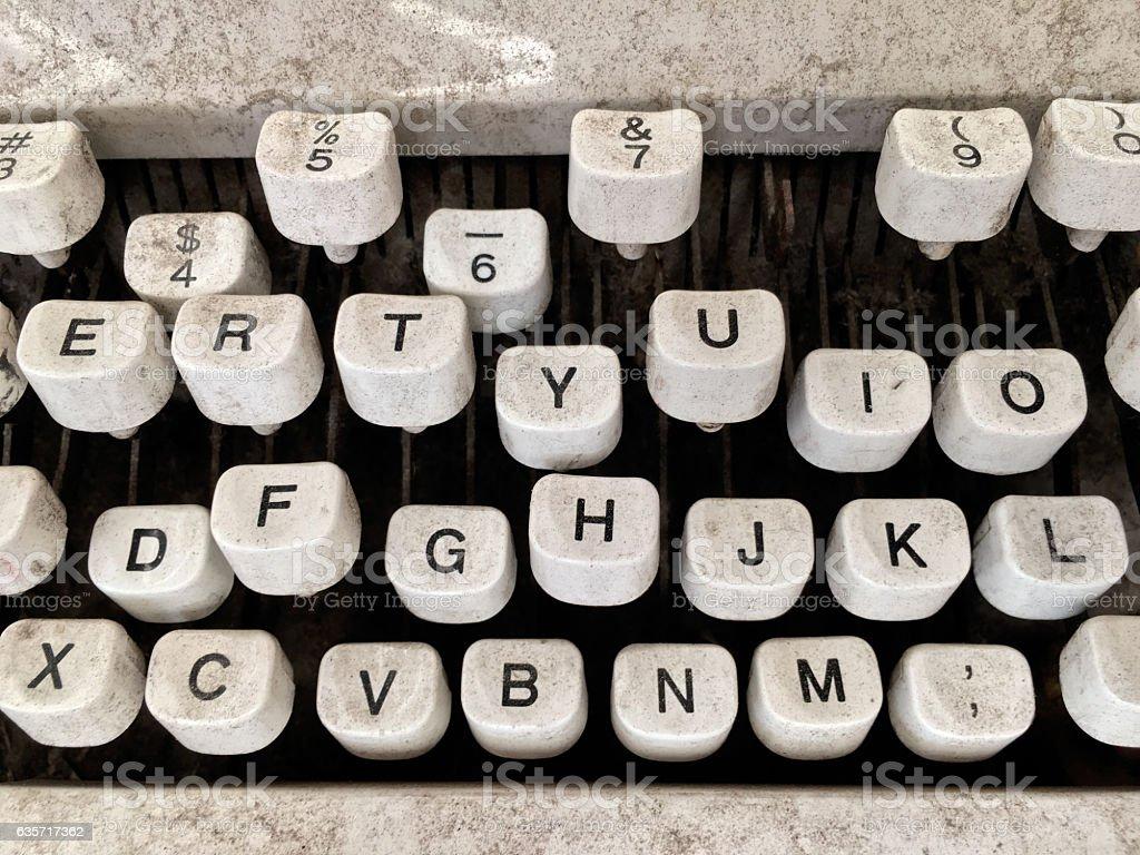 Dirty damaged typewriter stock photo