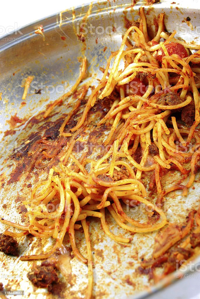 Dirty Dish - Left Overs in Spaghetti Pan stock photo