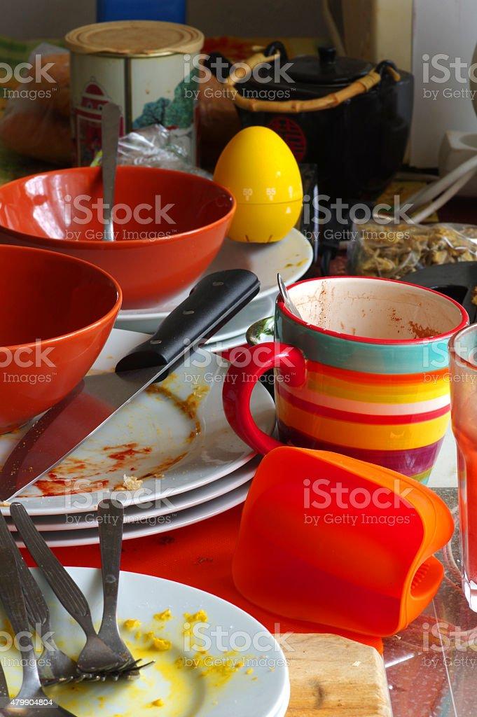 Dirty dishes kitchen utensils stock photo