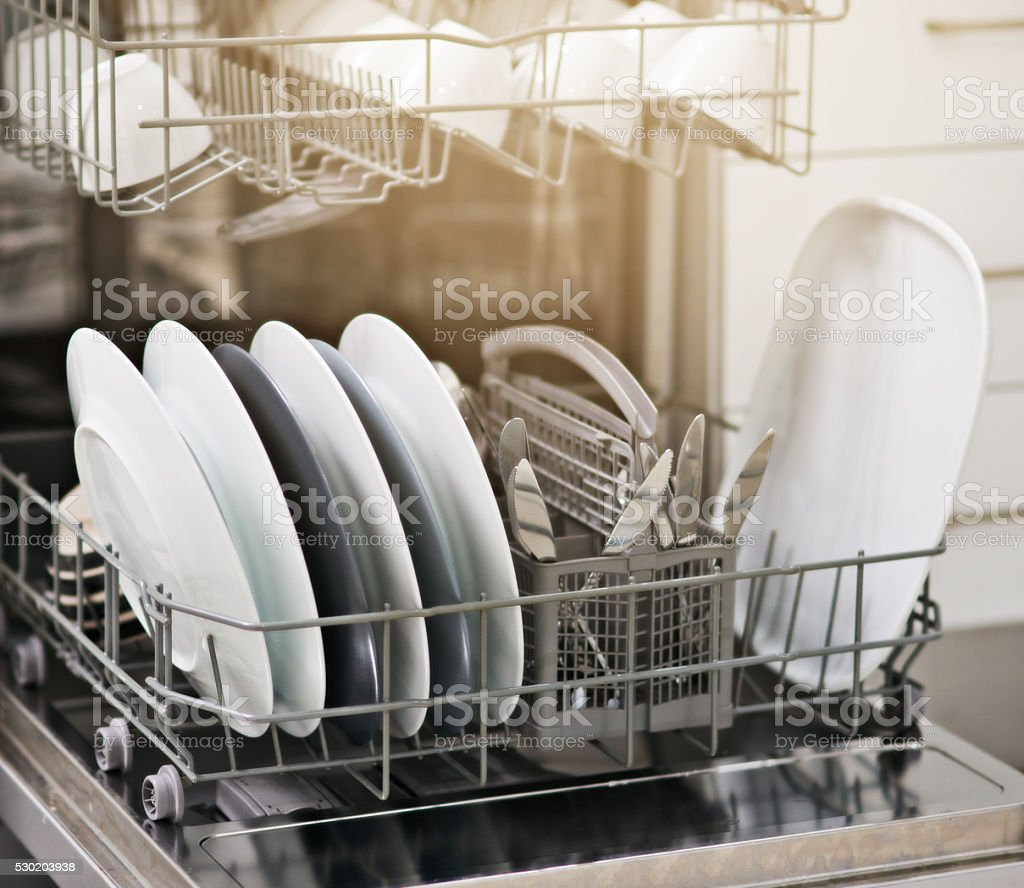 Dirty dishes no more stock photo