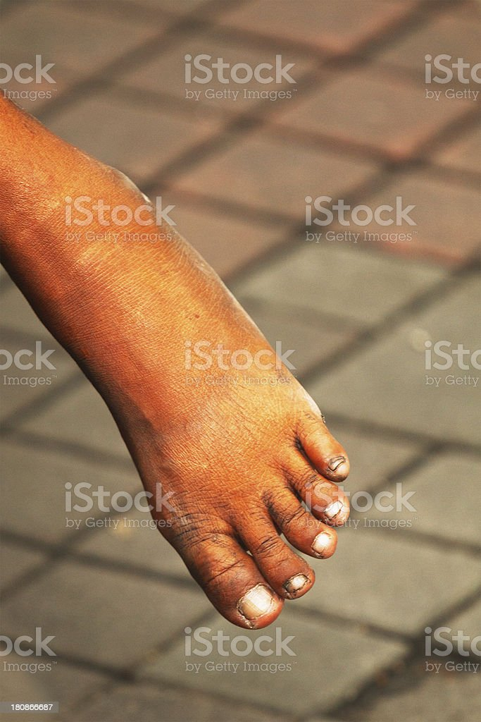 Dirty foot royalty-free stock photo