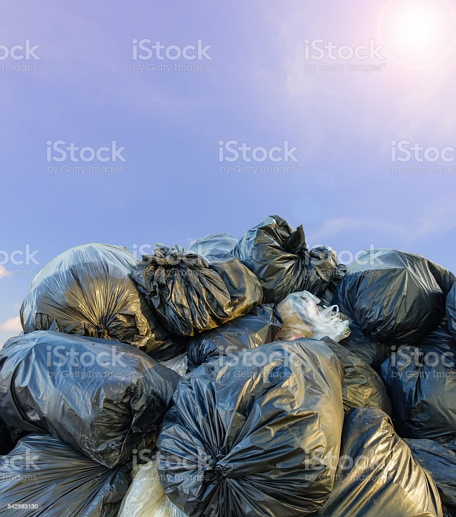 Dirty garbage bags stock photo