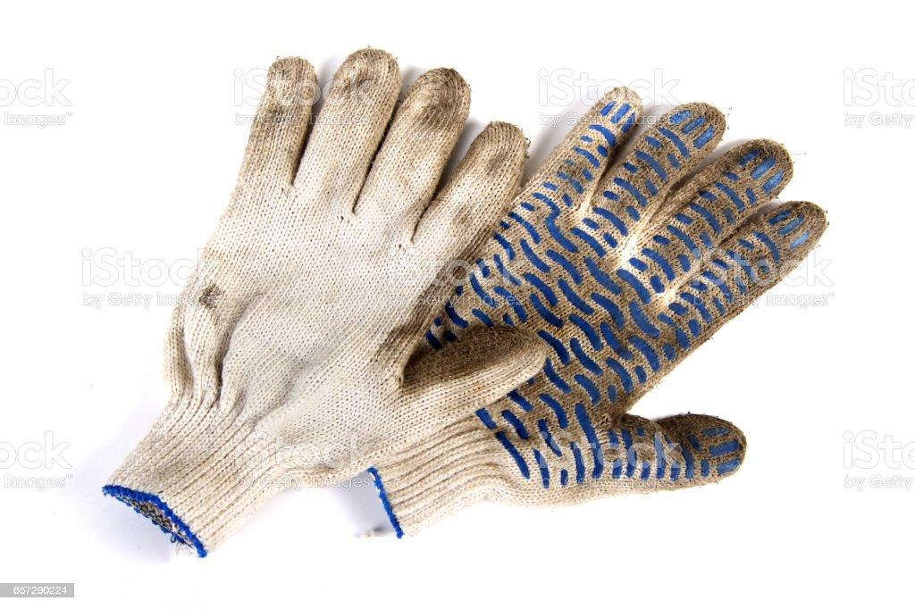 Dirty garden gloves stock photo