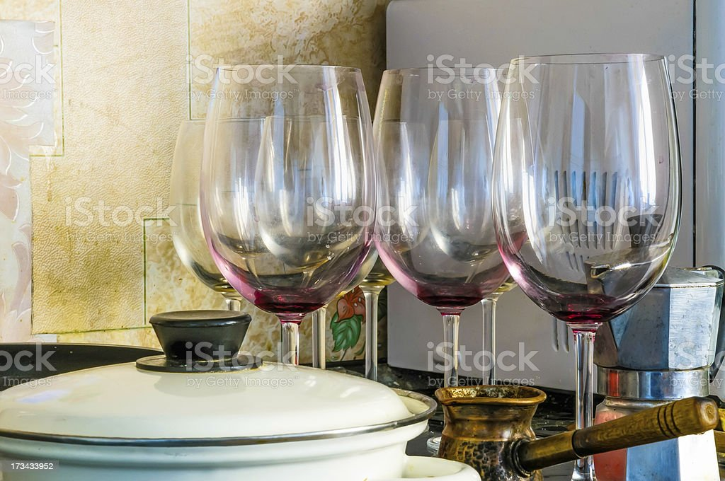 Dirty glasses royalty-free stock photo