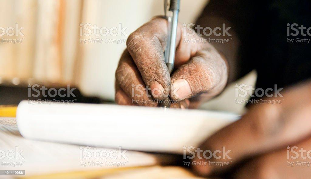 Dirty hand doing accounts stock photo