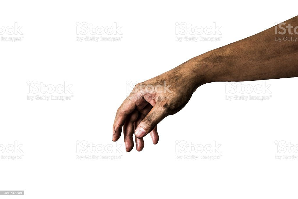 Dirty hand on white background stock photo