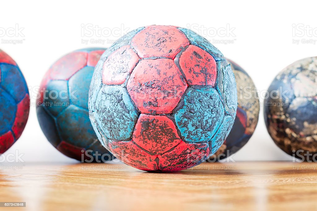 Dirty Handball Balls stock photo