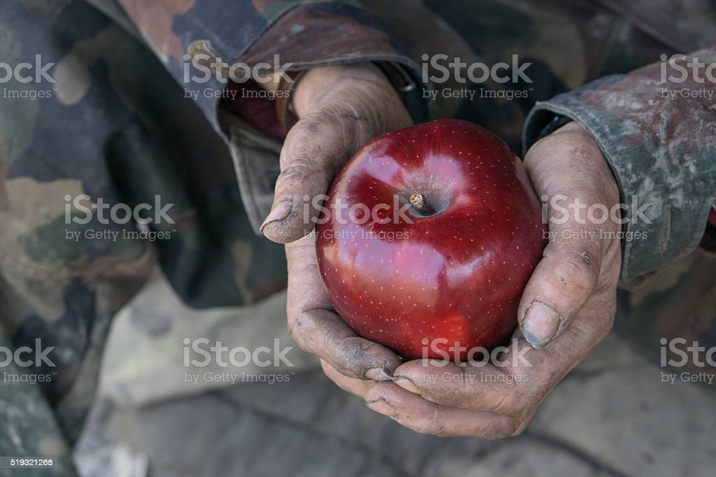 dirty hands and fresh apple stock photo