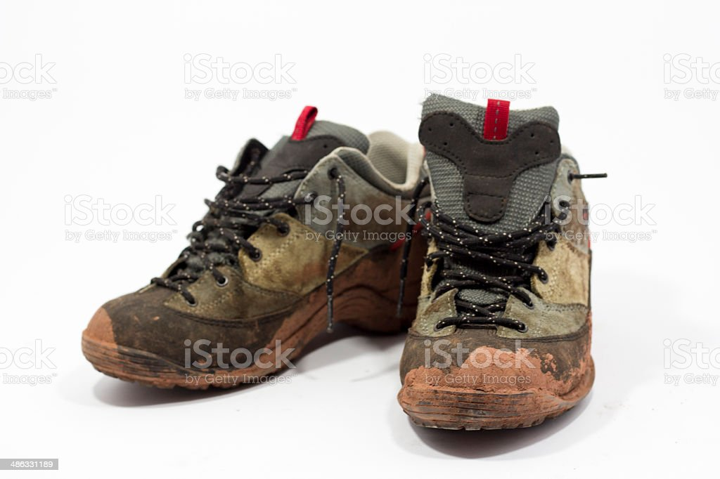 dirty hiking shoes royalty-free stock photo
