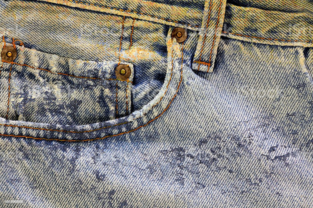 Dirty jeans close-up stock photo
