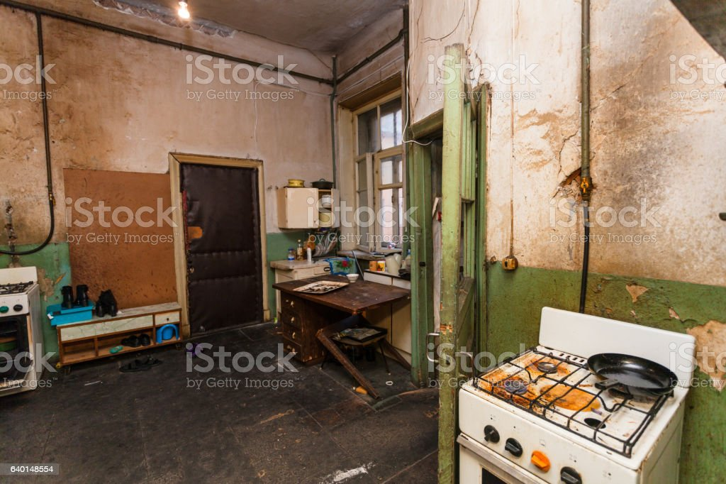 Dirty Kitchen Is In The Temporary Apartment For Living Refugees ...