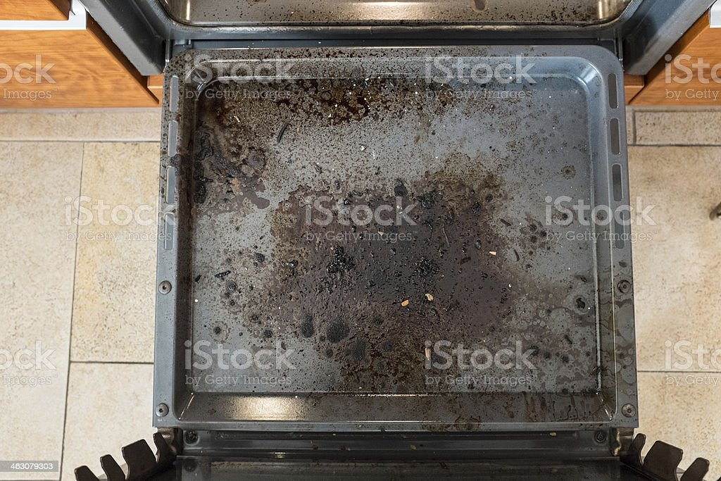 Dirty kitchen oven from above stock photo