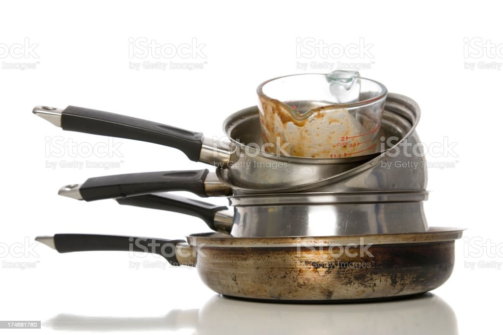 Dirty kitchen utensils stacked on top of each other stock photo