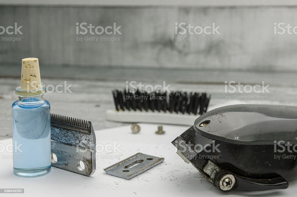 dirty machines for shearing stock photo