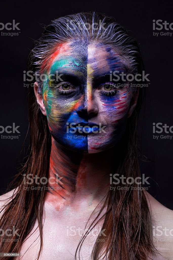 dirty makeup on my skin stock photo