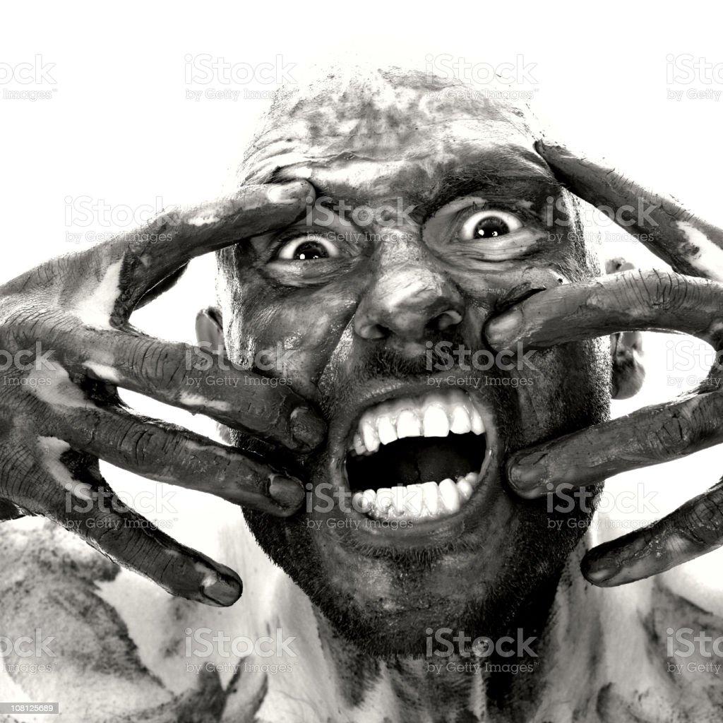 Dirty Man Bearing Teeth, Black and White royalty-free stock photo