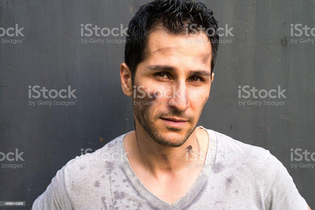 Dirty man stock photo