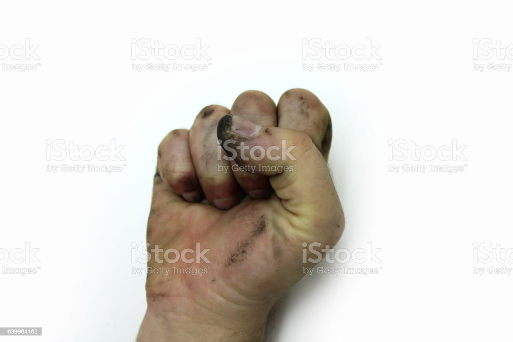 Dirty man's hand stock photo