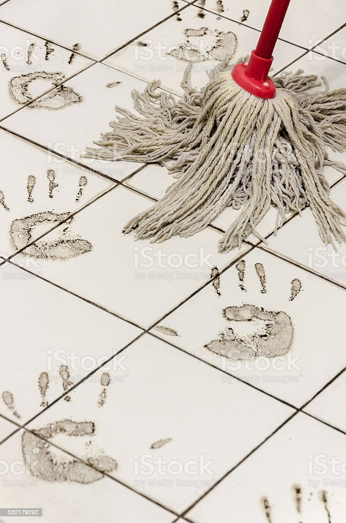 Dirty marks from walking on hands stock photo