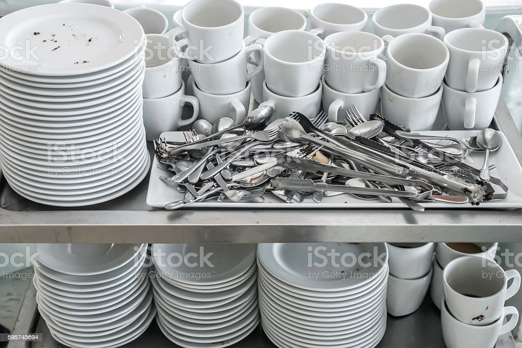 Dirty of dish and kitchenware waiting for wash stock photo