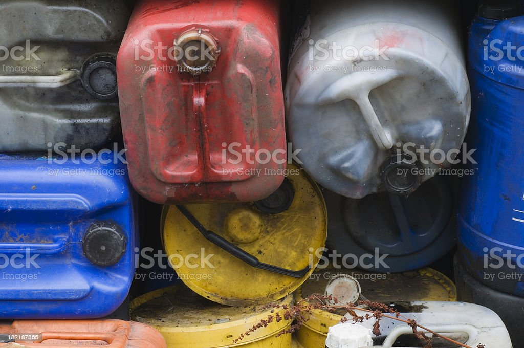 Dirty oil containers royalty-free stock photo