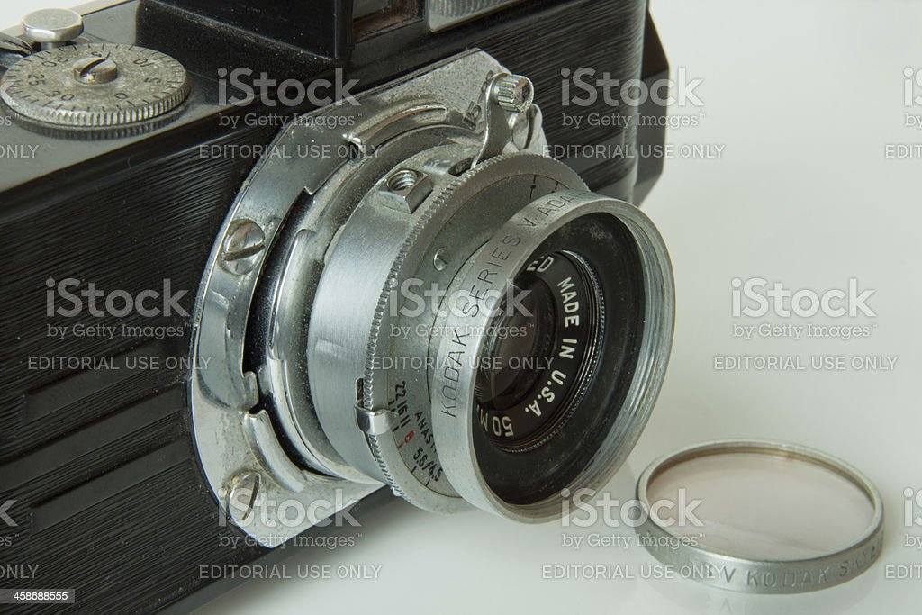 dirty old 35mm Argus A camera with Kodak filters stock photo