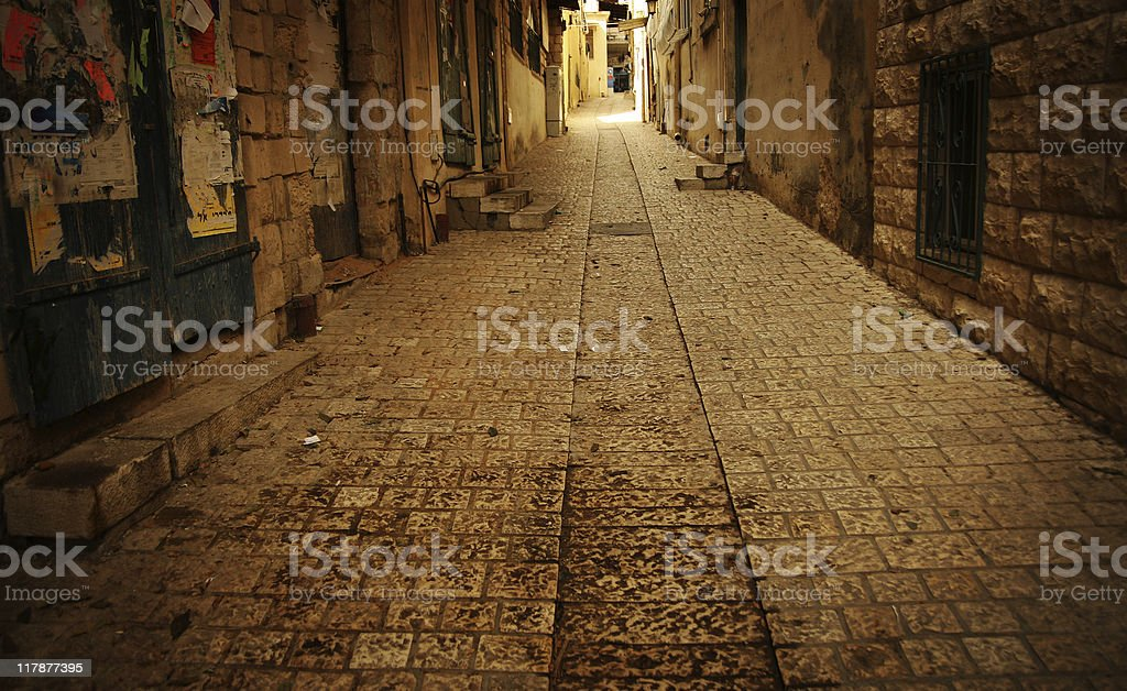 Dirty old city street stock photo