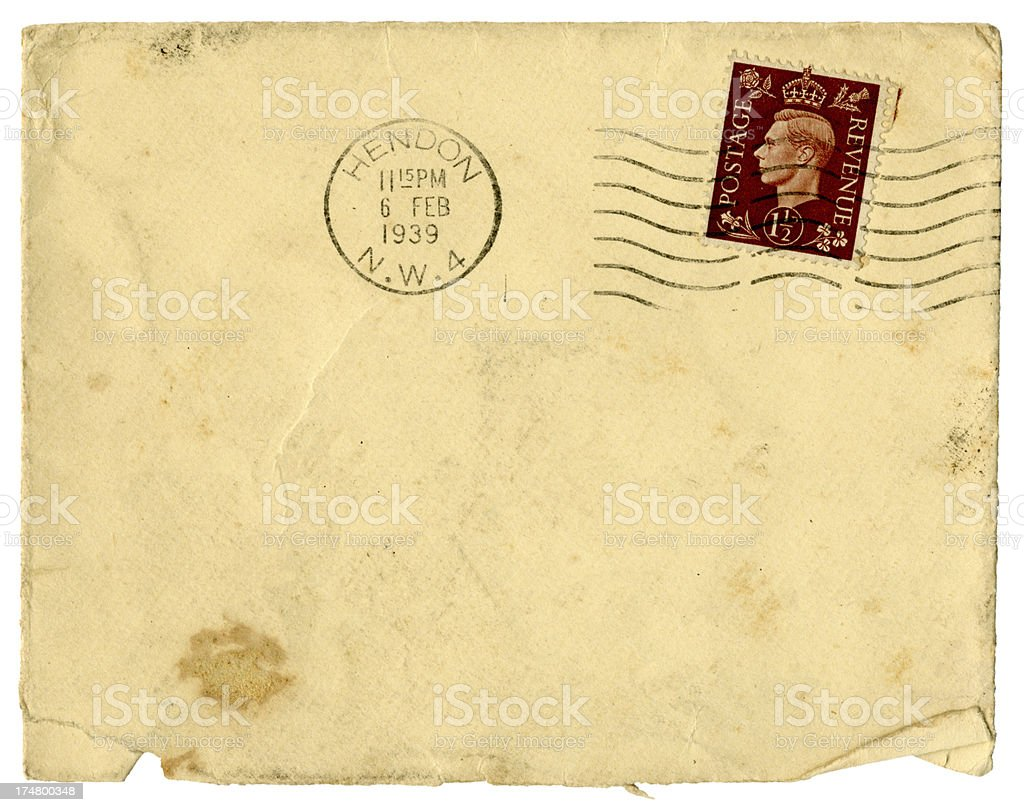 Dirty old envelope from Hendon, North London, 1939 stock photo